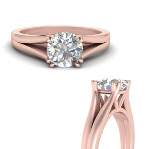 Split Double Prong Solitaire Ring