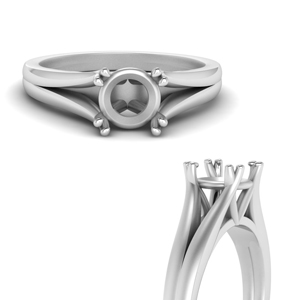 Semi Mount Double Prong Ring