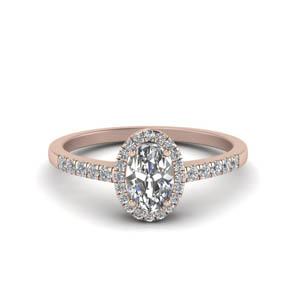 14K Rose Gold Halo Moissanite Ring