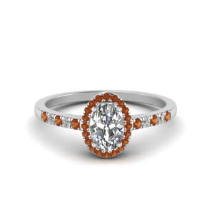 Orange Sapphire Oval Halo Ring
