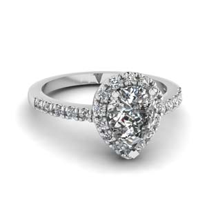 pear shaped halo diamond engagement ring in FDENR509PER NL WG