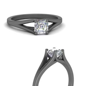 Black Gold Single Diamond Ring