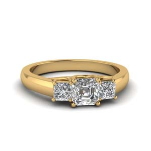 3 Stone Asscher Cut Engagement Rings
