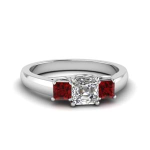 Asscher Cut Diamond Ruby Ring