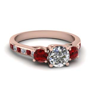 Cathedral Round Ruby Ring
