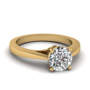 18K Yellow Gold Single Stone Ring