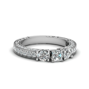 Vintage Style 3 Stone Lab Diamond Ring