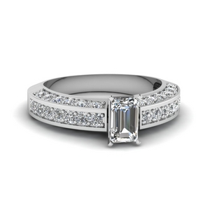 Emerald Cut Side Stone Ring