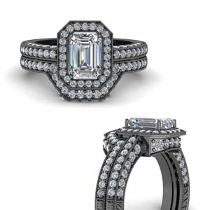 Emerald Cut Vintage Ring Set