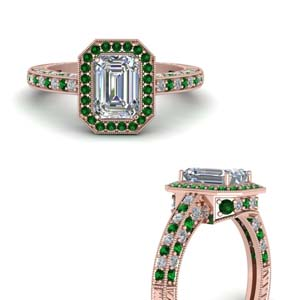 Emerald Rose Gold Ring For Women