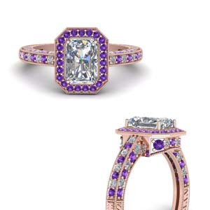 Purple Topaz Halo Ring For Her