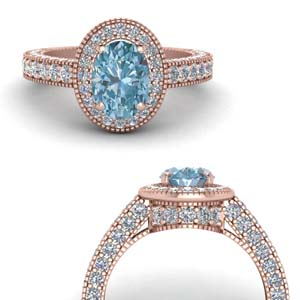 Pave Oval Shape Aquamarine Halo Ring