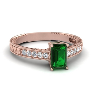 Vintage Emerald Ring In Rose Gold