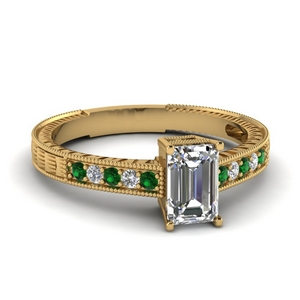 Emerald Cut Ring With Emerald