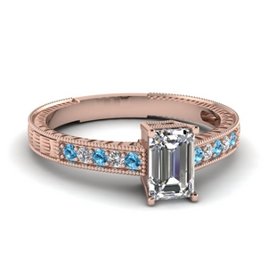 Milgrain Wedding Ring With Blue Topaz