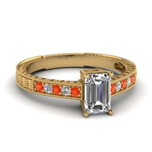Gold Orange Topaz Wedding Ring