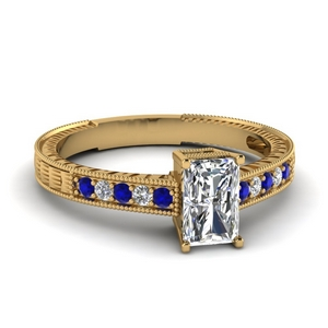 Radiant Cut Vintage Ring With Sapphire