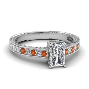 Antique Engraved Orange Sapphire Ring