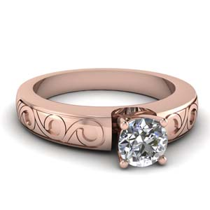 14K Rose Gold Single Diamond Ring
