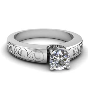 Engraved Design Ring 18K White Gold