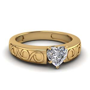 Heart Shaped Single Stone Ring