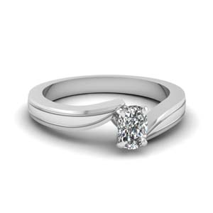 cushion cut twisted solitaire engagement ring in 14K white gold FDENR6677CUR NL WG