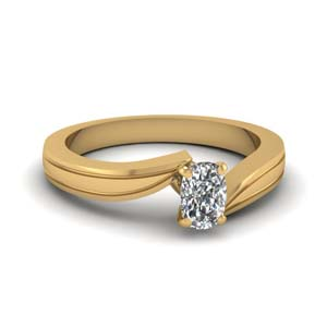 cushion cut diamond twirl solitaire engagement ring in 14K yellow gold FDENR6677CUR NL YG