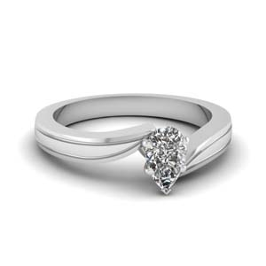 pear shaped twisted solitaire engagement ring in 14K white gold FDENR6677PER NL WG