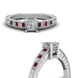 Princess Cut Ruby Vintage Rings
