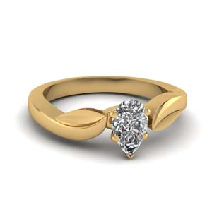 Leaf Contour Solitaire Ring