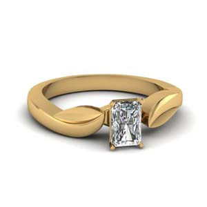 14K Gold Radiant Cut Solitaire Ring