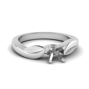 Platinum Semi Mount Leaf Ring