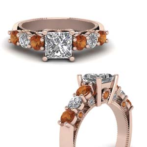Rose Gold Orange Sapphire Ring