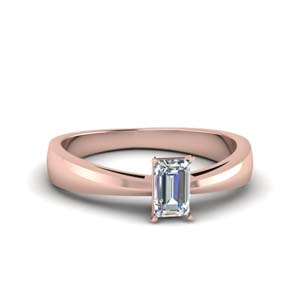 Glossy Tapered Engagement Ring