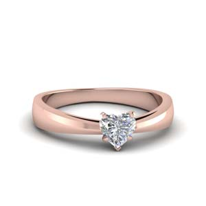 Tapered Heart Shaped Solitaire Ring