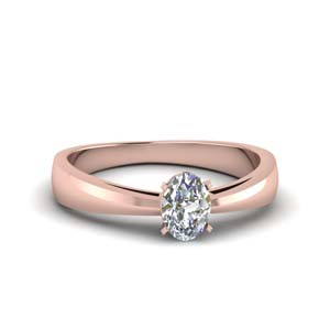 Tapered Oval Shaped Solitaire Ring
