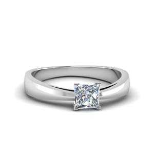 Tapered Princess Cut Solitaire Ring