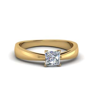 tapered princess cut solitaire engagement ring in FDENR678PRR NL YG