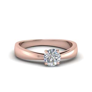 Tapered Round Cut Solitaire Ring