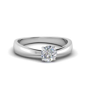 Round Diamond Solitaire Tapered Ring