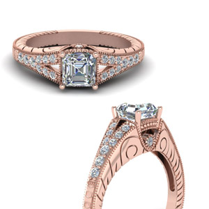 Milgrain Asscher Cut Engagement Rings