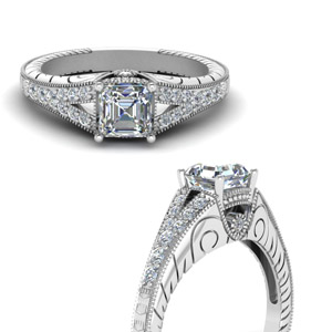 Split Shank Platinum Engraved Ring