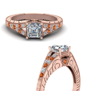 Milgrain Split Diamond Engagement Ring