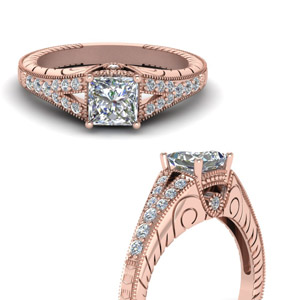 Moissanite Princess Cut Milgrain Rings