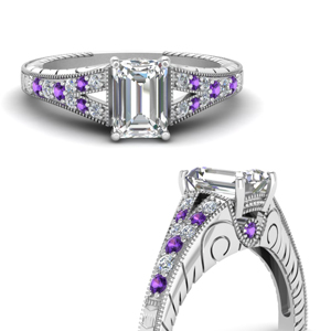 Milgrain Split Shank Engagement Ring