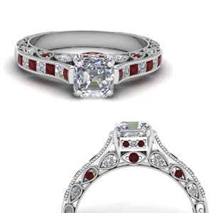 Asscher Cut Diamond Ring With Ruby