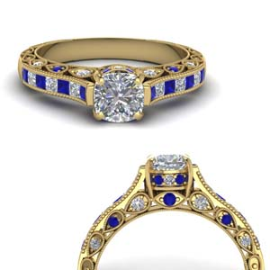 Milgrain Diamond Ring With Sapphire
