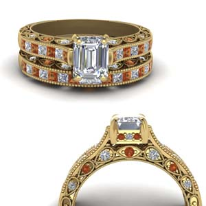 Cathedral Orange Sapphire Ring Set