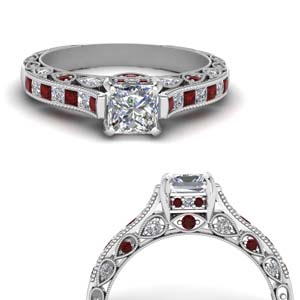 Princess Cut Diamond Cathedral Ring