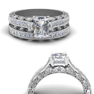Vintage Style Wedding Ring Set